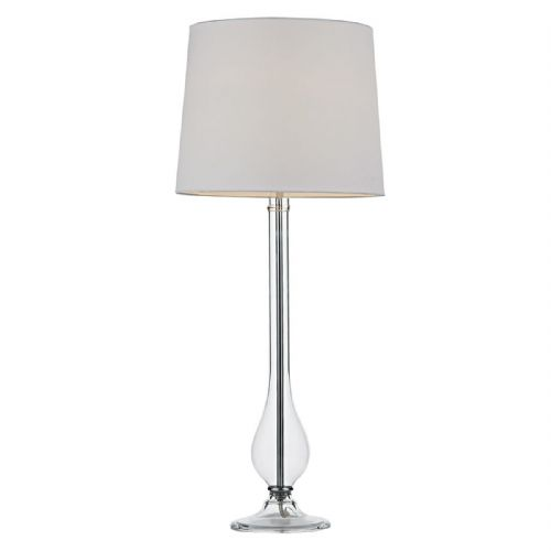Dillon Table Lamp Clear Glass complete with White Shade DIL4008 (Class 2 Double Insulated)